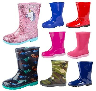Girls Boys Mid Calf Rain Snow Boots Rain Wellies Wellingtons Wellys Winter Size 2019 New Fashion Style Online