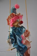 Vintage Hanging Clown Porcelain  Doll on Wooden Swing 18""