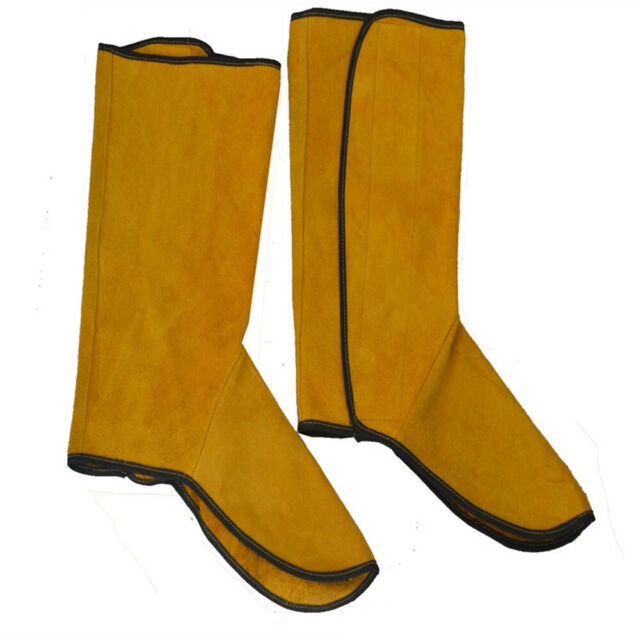 Leather Split Welding Spats Shoes Flame Resistant Welder Foot Protect Cover