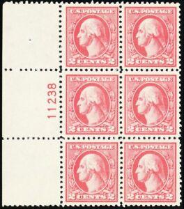 527, VF-XF NH 2¢ Left Side Plate Block of Six Stamps - Stuart Katz