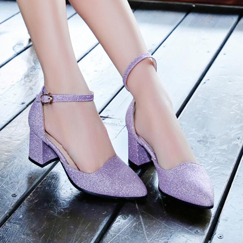 Women's Women's Women's Cute Pumps Pointy Toe Ankle Strap Glitter Chunky Med Heels Sequins shoes b6c8e4