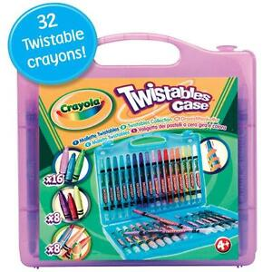 NEW Crayola 32 piece Twistable Crayons Carry Case in Purple Blue Yellow