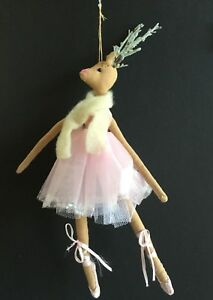 Fabric Net Pink Dancing Ballet Reindeer Christmas Tree Decoration