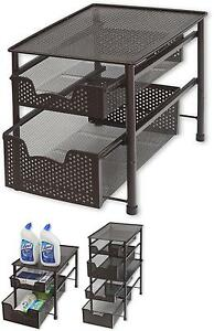 'Under-The-Sink-Slide-Out-Cabinet-Drawer-Storage-Organizer-2-Tier-Bathroom-Home' from the web at 'https://i.ebayimg.com/images/g/csQAAOSw~jNZYJAO/s-l300.jpg'
