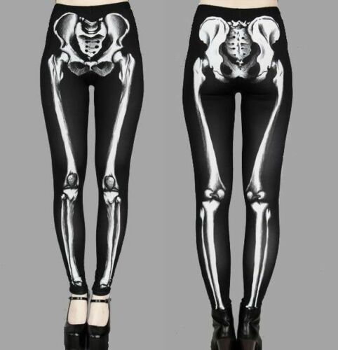 Skelett Leggings Gr. S/M & L/XL Bones Knochen Gothic Horror Batcave Halloween