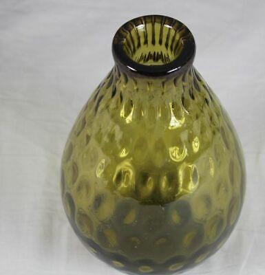 ältere Glasvase - Dickes Grün Gelbes Glas - Vase Ca. 22,5 Cm. - Ca. 1,3 Kg. Geschickte Herstellung