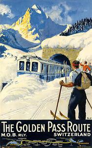 Switzerland Ski 1934 Vintage Train Travel Canvas Print 20x32