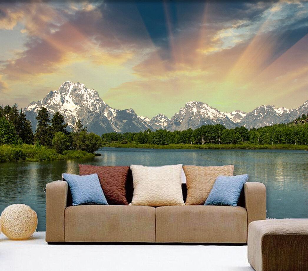 3D See, Berg Himmel Fototapeten Wandbild Fototapete Bild Tapete Familie Kinder