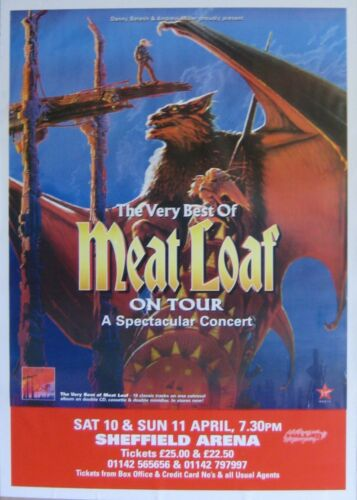 "40x60"" HUGE SUBWAY POSTER~Meatloaf On Tour 1998 Very Best of Sheffield Arena~NOS"