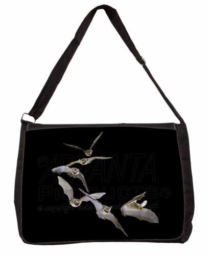 A-BAT1SB Bats in Flight Large Black Laptop Shoulder Bag School//College