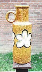 """8-13 Unique W. German Scheurich 11"""" Vase 40128 Fat Lava Brown Mottled Flowers"""