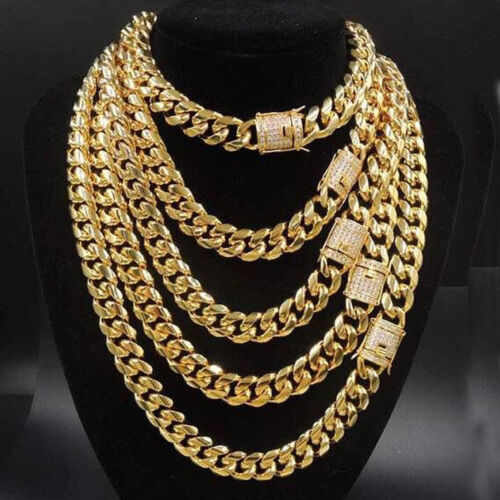 14mm width Hip Hop Jewelry for Men Boy Gold Stainless Steel Curb Chain Necklace