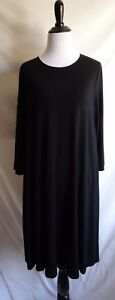 Eileen-Fisher-M-Solid-Black-Jersey-Knit-A-Line-Stretch-3-4-Sleeve-Tent-Dress