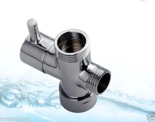 "Shower Diverter 3//4/"" 1//2/"" BSP for Valve Mixer Rigid Riser Chrome Brass T-adapter"