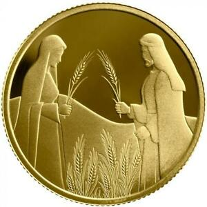 ISRAEL-COIN-amp-MEDAL-2020-BIBLE-STORY-RUTH-IN-BOAZ-039-S-FIELD-SMALLEST-GOLD