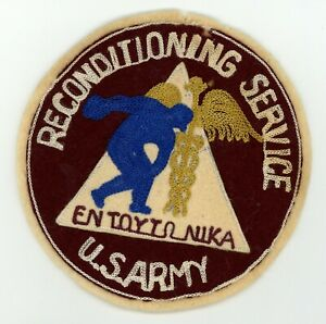 WWII-WW2-US-Army-Reconditioning-Service-large-jacket-patch-on-wool-PT