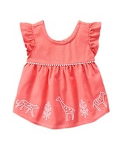 NEW Gymboree Safari Smock Top in Coral for Girls