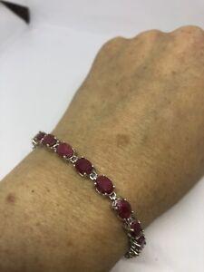 Vintage-Genuine-Red-Pink-Ruby-925-Sterling-Silver-Deco-Tennis-Bracelet