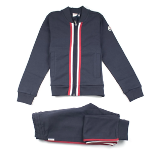 Age 8 /& 10 in Navy 013 Tri-colour Full Tracksuit Set £220 Moncler Kids