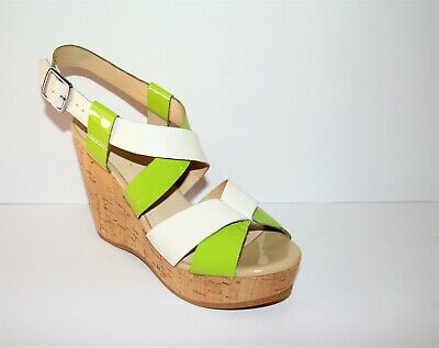 Wittner Brand Lime White Patent Strappy Sandals Wedges Heels Size 40 NEW | eBay