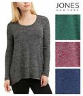 Jones New York Womens Long Sleeve Scoop Marled Knit Stretch Fabric MANY COLORS