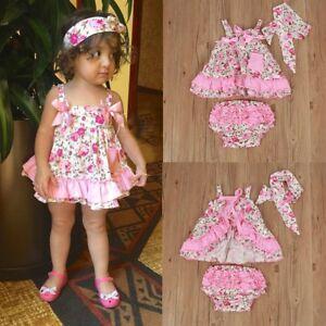 3PCS Newborn Infant Baby Girls Outfit Clothes Tank Tops Dress+Pants+He<wbr/>adband Set