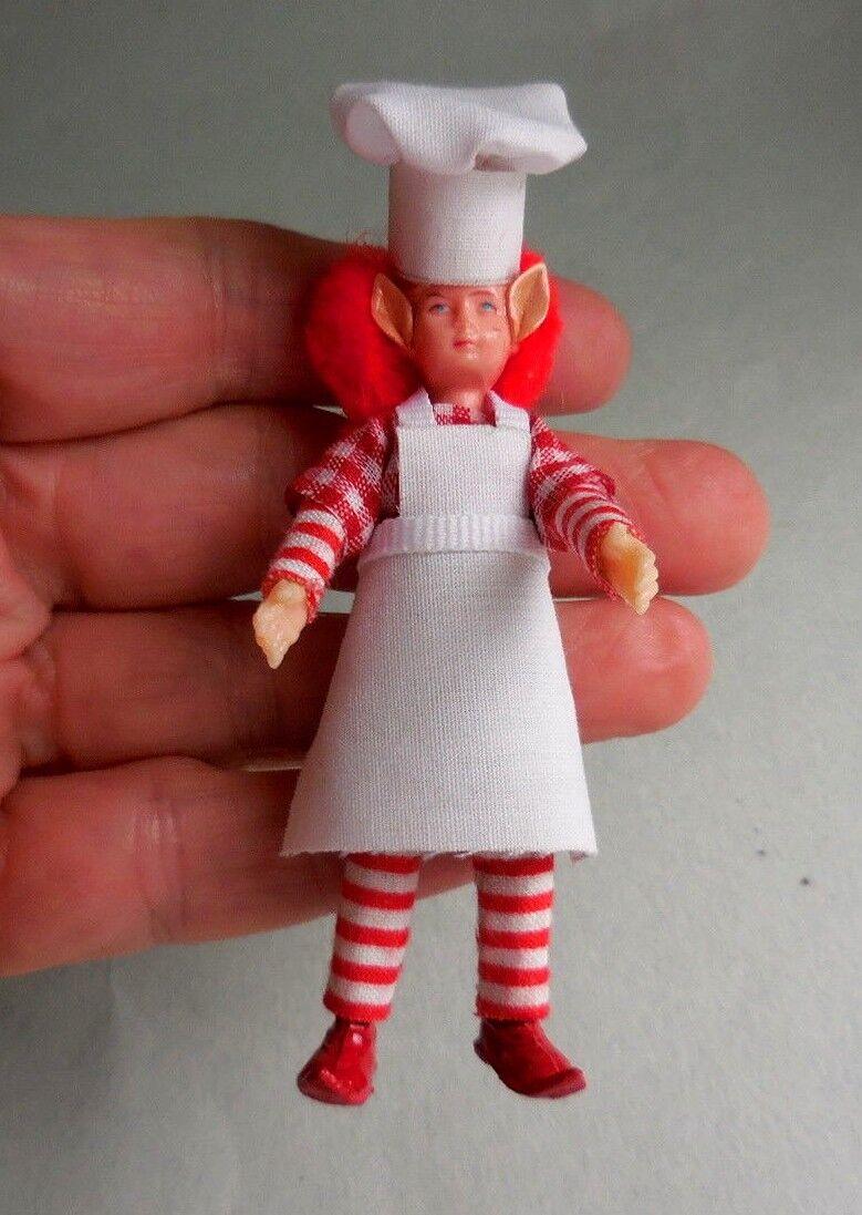 Entrega gratuita y rápida disponible. Casa de muñecas en miniatura miniatura miniatura  Navidad  Pelo Rojo Chef Elf  hecho a mano  de moda
