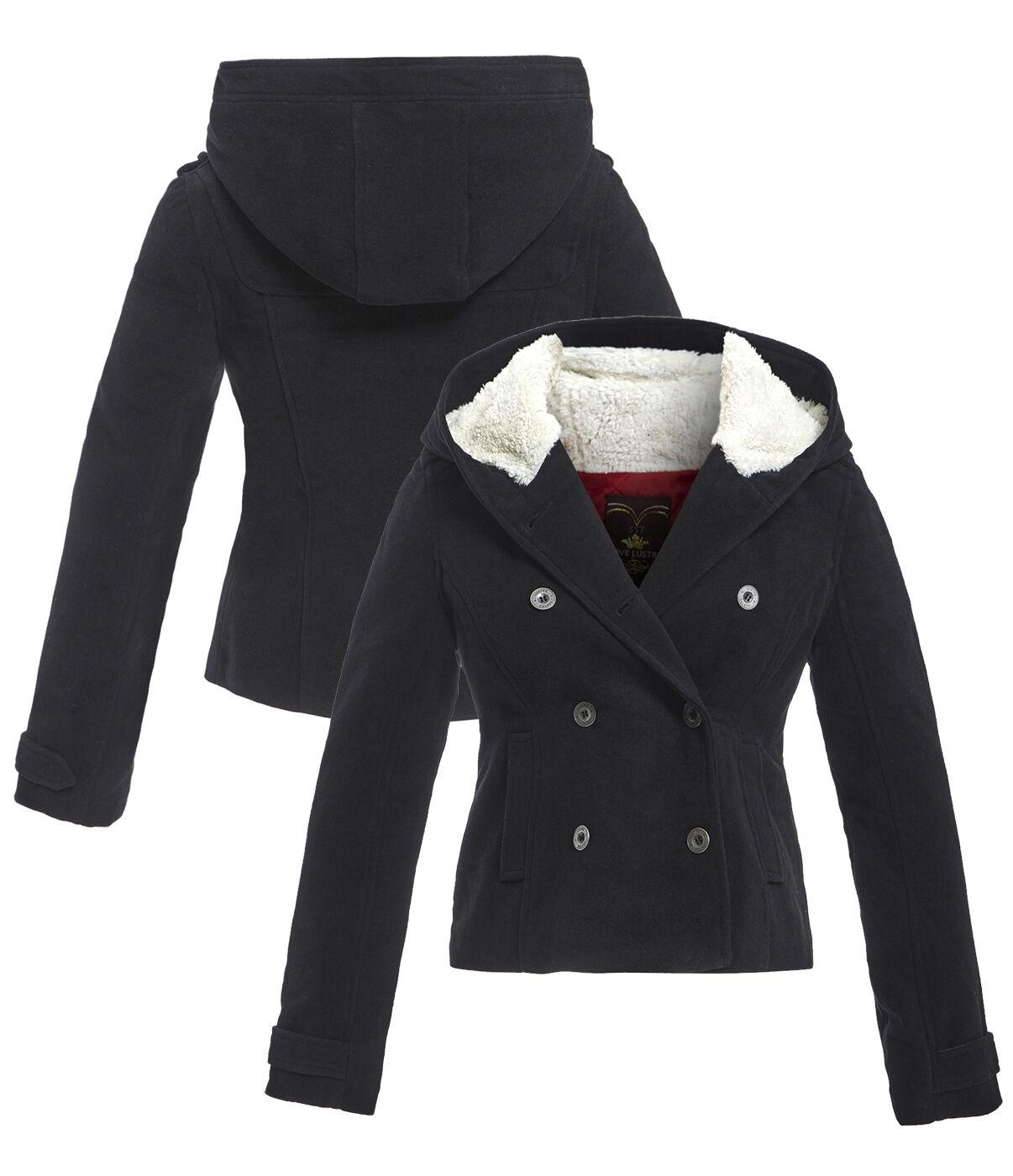 NUOVO women Parka con cappuccio cappotto di lana giacca taglia 8 10 12 14 16