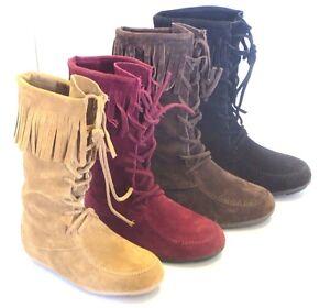 3ab1ab77b464 Girl Suede Fringe Boot Lace Up (baylee09k) Kid Size Moccasin Black ...