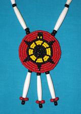 Beaded Turtle Rosette Necklace w/ Bone Hairpipe  Native American Regalia #09