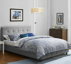 bed frame queen platform upholstered bedroom furniture tufted grey headboard new. Black Bedroom Furniture Sets. Home Design Ideas