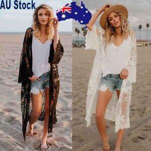 Women-Chiffon-Lace-Kimono-Cover-Up-Boho-Beach-Long-Oversized-Sunscreen-Coat-AU