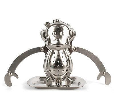 Kikkerland ROBOT Stainless Steel Loose Tea Infuser Drip Tray//bye tea bags CU38