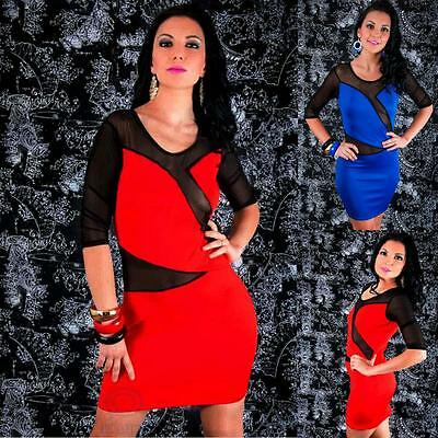 3/4 Sleeve Black Mesh Cut Out Dress Sexy Stretch Bodycon Casual Party Clubwear