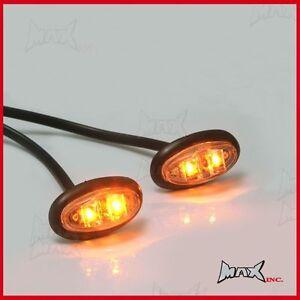 Amber 12v Oval Flush Mount Led Mini Marker Lights Ebay