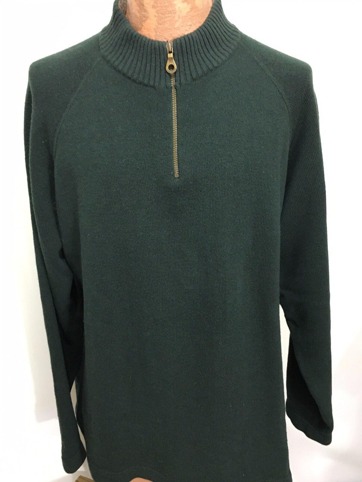 Pendleton  Herren XL Grün Lambswool & Cotton 1/2 Zip Pullover Sweater