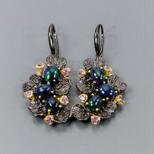 Black-Opal-Earrings-Silver-925-Sterling-Handmade-Design-E41028