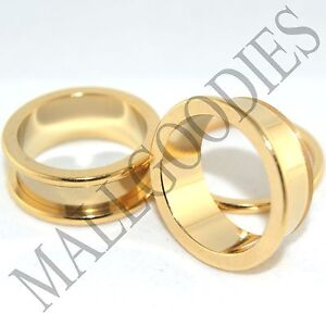 """1502 Screw on/fit Steel Anodized Gold Tunnels Big Gauges Plugs 1-1/4"""" Inch 32mm"""