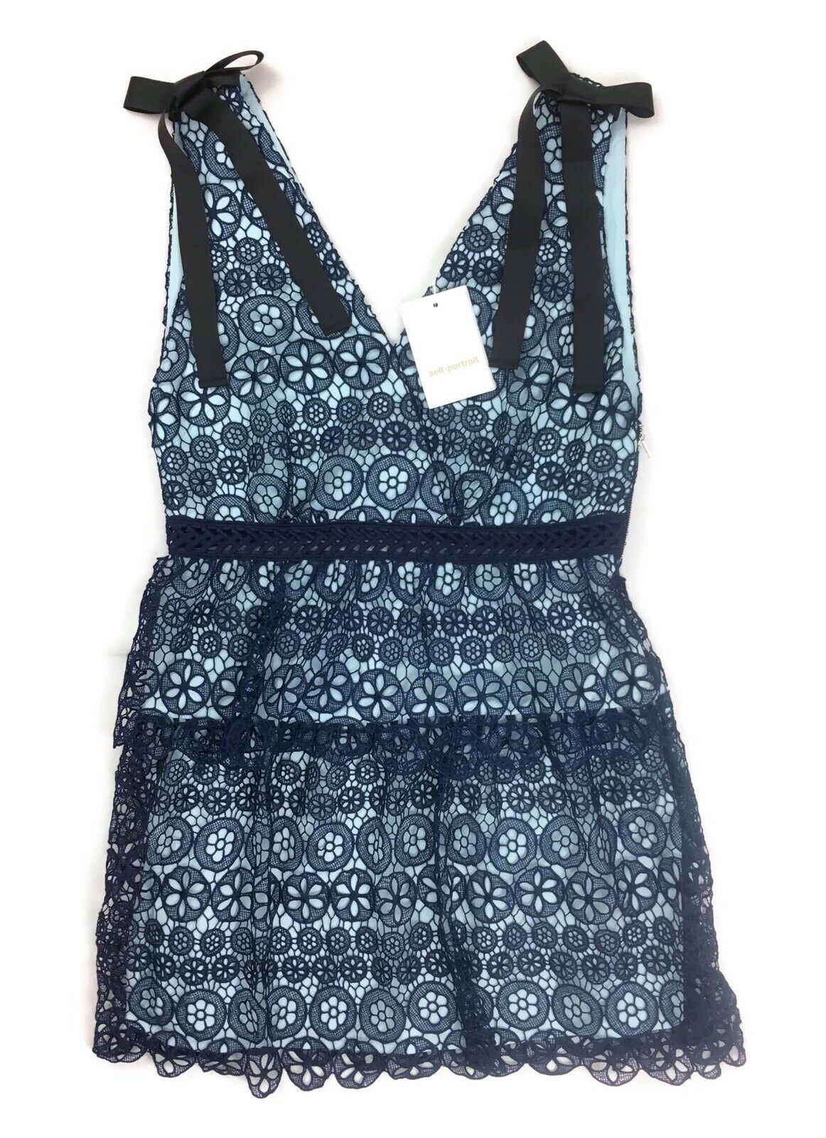 Self-Portrait Tiered Circle Floral Lace Dress - bluee - UK14 US10 - RRP  New