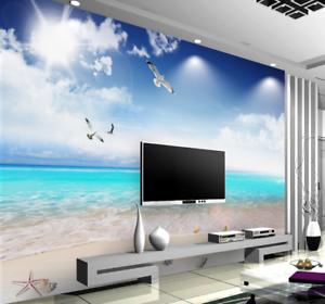 3D blueer Strand Himmel6 Tapete Tapeten Mauer Foto Familie Tapete Wandgemälde DE