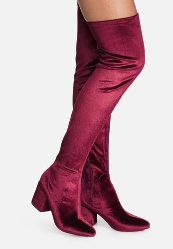 New Stuart Weitzman Tieland Scarlet Stretch Velvet Over the Knee OTK Stiefel Sz 5