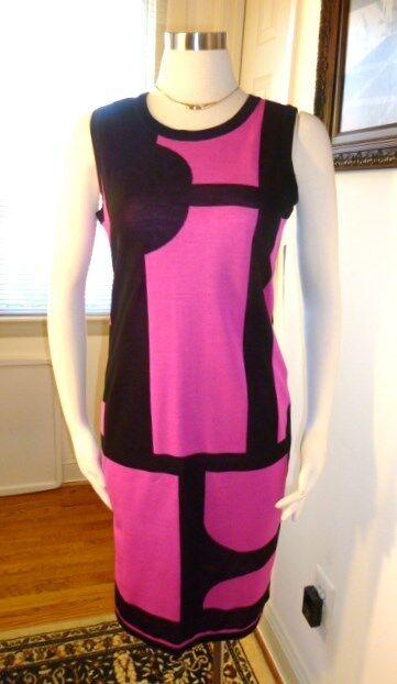 NWT Misook Acrylic schwarz and Rosa Short  Fiona   Dress Größe S