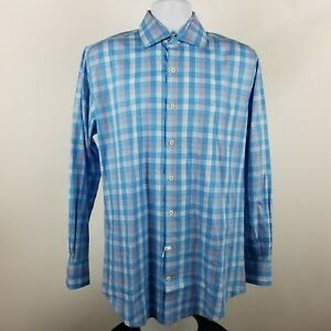Peter-Millar-Mens-100-Cotton-Blue-Plaid-Check-L-S-Dress-Button-Shirt-Sz-Medium