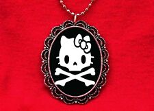 HELLO SKULL KITTY CAT PENDANT NECKLACE KAWAII GOTH