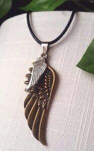 coole-Fluegel-Halskette-Echt-Leder-Kette-Silber-Bronze-Schutz-Glaube-Gothik-Punk