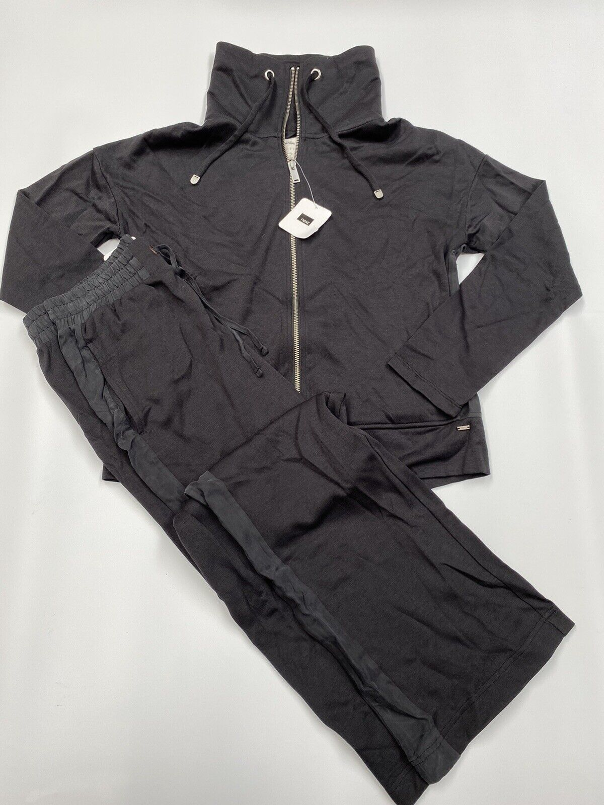 Ladies NEW Next Downtime Size Small Black Sport Lounge Tracksuit Velour Trim