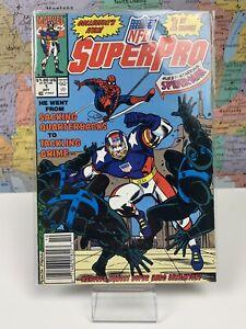 SHIPS-SAME-DAY-NFL-SUPERPRO-1-MARVEL-COMIC-BOOK-Football-Hero-Spider-Man-1991