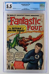 Fantastic-Four-10-Marvel-1963-CGC-5-5-Stan-Lee-and-Jack-Kirby-appear-in-story