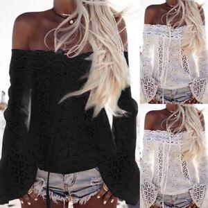 Plus-S-3XL-Women-Off-Shoulder-Long-Sleeve-Cotton-Lace-Loose-Blouse-Tops-T-Shirt