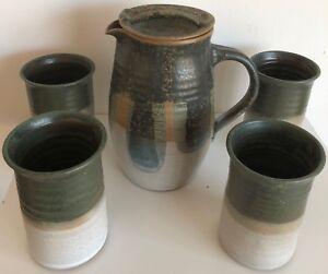 Vintage 70s Ceramic Pitcher Cups Art Pottery Retro Mid Century Modern Stoneware